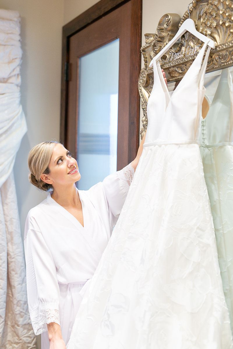 Bride with Dress in Bridal Room